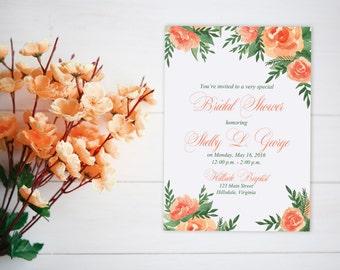 "Watercolor Bridal Shower Invitation - Couple's Wedding Shower (Set of 25) ""Lavish Garden"" Orange Peach Bridal Shower - Watercolor Wedding"