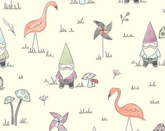 Gnome Matter What! Cream 25836-E by Quilting Treasures Cotton Fabric Yardage