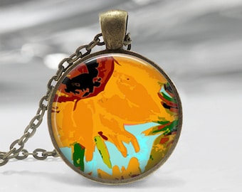 Van Gogh Sunflower Glass Photo Pendant Necklace or Key Chain Vincent Van Gogh inspired Jewelry