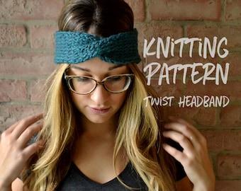 Knitting Pattern | Twist Headband | Chunky Knit Headband Pattern | Headwrap | Boho Knit Headband Pattern