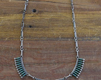 Signed Vintage Zuni Turquoise Needlepoint and Sterling Silver Necklace