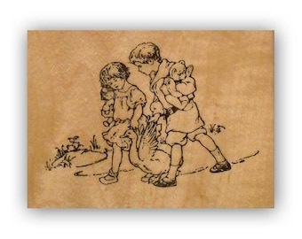 Children with Goose mounted rubber stamp, vintage style, old fashioned, best friends, Crazy Mountain Stamps #8