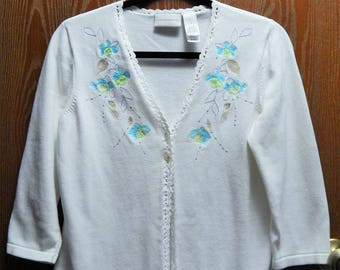 Liz Claiborne Womens Medium Pearl White Embroidered and Crocheted Cardigan Sweater