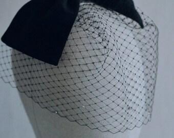 Black Birdcage Veil, Black Crystal Veil, Birdcage Headband, Black Fascinator, Art Deco, Vintage Hair Accessories, Old Hollywood