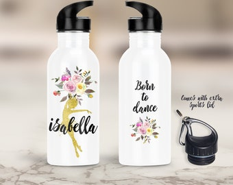 Personalized Ballet Water Bottle, Dance Bottle, Gift for Dancer, Dance Teacher Gift, Dance Party Favor, Dance Recital Gift, Dance Instructor