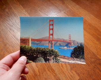 Vintage 3D Postcard San Francisco Golden Gate Bridge from 1960s / Retro Panoramic Famous City Scene Tourist Collectors Gift Free Shipping