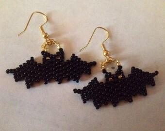 Bat Beaded Earrings--Gold tone