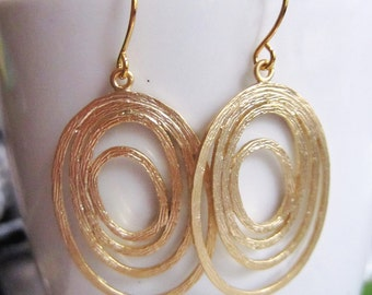 Gold Oval Earrings, Multi Ovals, Gold Chandelier Earrings, Brushed gold, Simple Everyday Earrings, Redpeonycreations