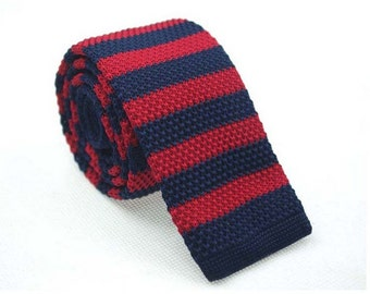 Knitted Ties.Mens Knit Neckties.Mens Ties with Navy and Dark Red Stripes.Wedding Ties for Men