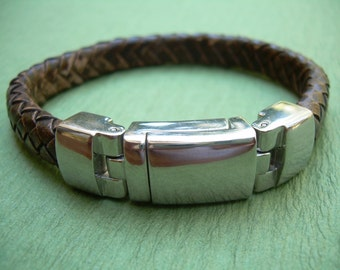 Masculine Oval Braided Leather Bracelet for Men, Mens Bracelet, Mens Jewelry, Leather Bracelet, Mens Gift,For Him,Leather Jewelry