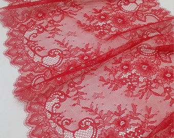 Red lace Trimming, Chantilly Lace, French Lace, Wedding Lace, Scalloped lace Eyelash lace Floral Lace Lingerie Lace by the yard L20184