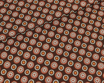 Cotton Lia circles on Brown (9,90 EUR / meter)