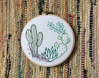 Cactus and Succulent Collection Embroidery Art in 6 Inch Hoop - Cactus Art - Saguaro - Prickly Pear - Southwestern - Wall Art -  Home Decor