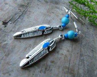 Silver feather turquoise earrings, tribal earrings, bohemian jewelry