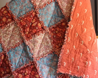 Rag Quilt, Coral Sea, Rag Lap Quilt, Handmade, Unique 50 x 50 Ready to Ship