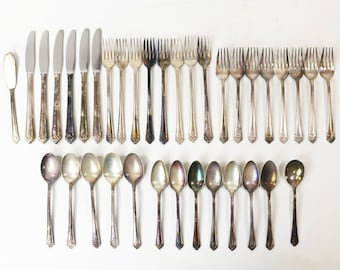 Lot 36 Pieces Her Majesty by 1847 Rogers Bros. Silver Plate Flatware