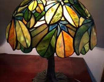 """12"""" Chestnut Stained Glass Lamp"""