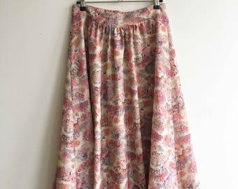 Vintage Pink flowered midi skirt size M