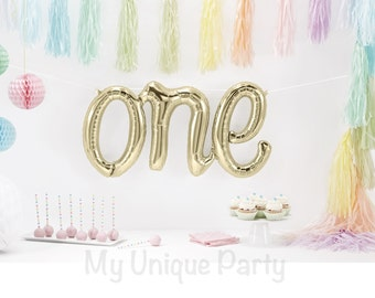 """ONE Balloons """"ONE"""" Script Balloon Large White Gold Air Fill only Cursive Balloon String included / Engagement / Wedding / Anniversary"""
