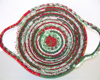 Christmas basket  coiled rope clothesline basket with handles fabric basket  trinket holder  Christmas decor red green white. C