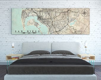 SAN DIEGO Canvas Print CA California Vintage map San Diego Point Loma City Horizontal Wall Art Vintage Large Gift Retro Poster Panoramic Map