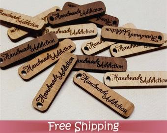 "50 Custom Wood Tags - 1.5"" x .38"" Single Hole - Laser cut & Engraved (T-0001)"
