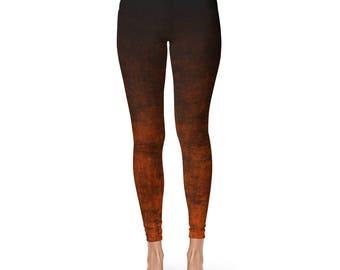 Orange Ombre Yoga Pants, Grunge Orange and Black Leggings, Orange Leggings, Fashion Leggings, Footless Tights