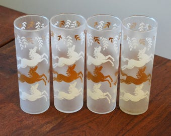 Vintage Libbey Frosted Cavalcade Tumblers, set of 4 White and Gold Horses with laurel leaves - Mid Century barware