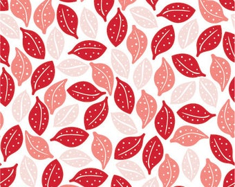 Sweet Prairie Fabric -  Leaves in Pink - fat quarter / yardage