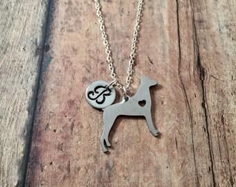 Doberman Pinscher initial necklace - Doberman jewelry, guard dog necklace, large dog breed jewelry, silver Doberman necklace, K9 jewelry