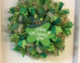 Burlap St. Patrick's Day Wreath, Lucky Wreath, St. Patrick's Day Wreath, St. Patricks Day Mesh Wreath, Irish Wreath