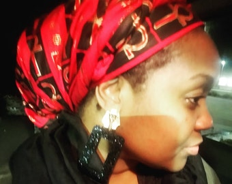 Red, black and gold ankh headwrap