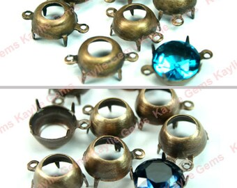 12pcs 10mm Round Oxidized Brass Open Back Prong Settings 1 Ring / 2 Ring