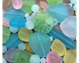 Sea Glass, Cool Breeze Pastel Bead Mix and Pendants Exclusive at Dream Girl Beads, Loose Bead Mix, Cultured, Sand Dollar, Shell