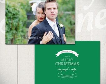 Christmas Card Template: Love & Peace D - 5x7 Holiday Card Template for Photographers