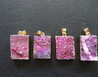 10pcs Violet Pink Druzy Agate Pendant Rectangle 20x25mm- Gold plated-SIMILAR AS Pictured