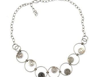 14k White Gold Unique Spiral Design Sizable Necklace #261376349918