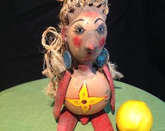 Antique Mexican Folk Art Phallic Gourd Doll Jicara Coconut Sisal Hair