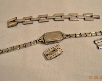 Gate Link Sterling Silver Bracelet,Seeland antique Watch Swiss ,16 Sixteen Jewels,Two Adjustments,Repair Destash Lot