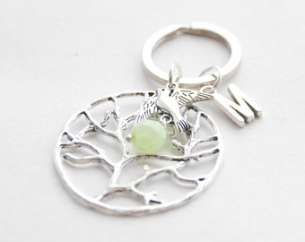 Custom Family Tree Keychain Tree of Life Keychain Silver Tree Keychain Rustic Woodland Keychains Tree jewelry Personalized Accessories
