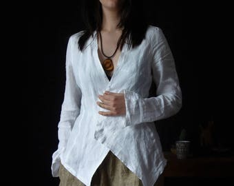 Asymmetrical Linen Jacket, Handmade Jacket, Natural Fabric, Woman Fashion, Casual Clothing, Sustainable fashion, Elegant Jacket