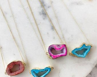 Mermaid geode slice necklace