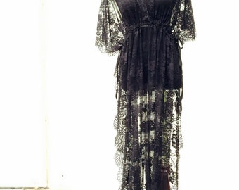 Roman Holiday Embroidered Lace Maxi Dress w/ Slit, Bohemian style robe, beach coverup, One size fits all, Small Medium Large, Black,