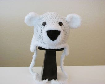 Baby White Polar Bear Hat, Crochet White Polar Bear Hat, Newborn Baby Hat, Artic Polar Bear Hat, Handmade Polar Bear Hat, Christmas Gift