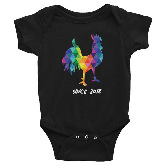Soft Infant Bodysuit with a Colorful Rooster on the Front
