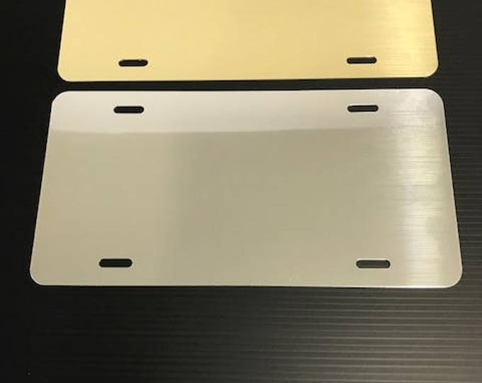 """1- License Plate Blank - Polished Gold or Chrome 6""""x12"""" .040"""