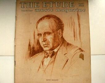 The Etude Music Magazine, April 1946, vintage sheet music, music teachers, vintage music ad, piano music, Chopin Nocturne, Lillian Gebauer