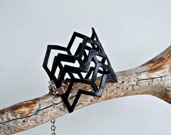 Black wide leather cuff bracelet Hand cut geometric leather cuff Womens adjustable bracelet Leather jewelry Goth bracelet