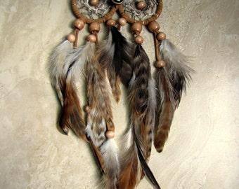 Owl Dream Catcher - Natural Brown Feather Dream Catcher, Dreamcatcher