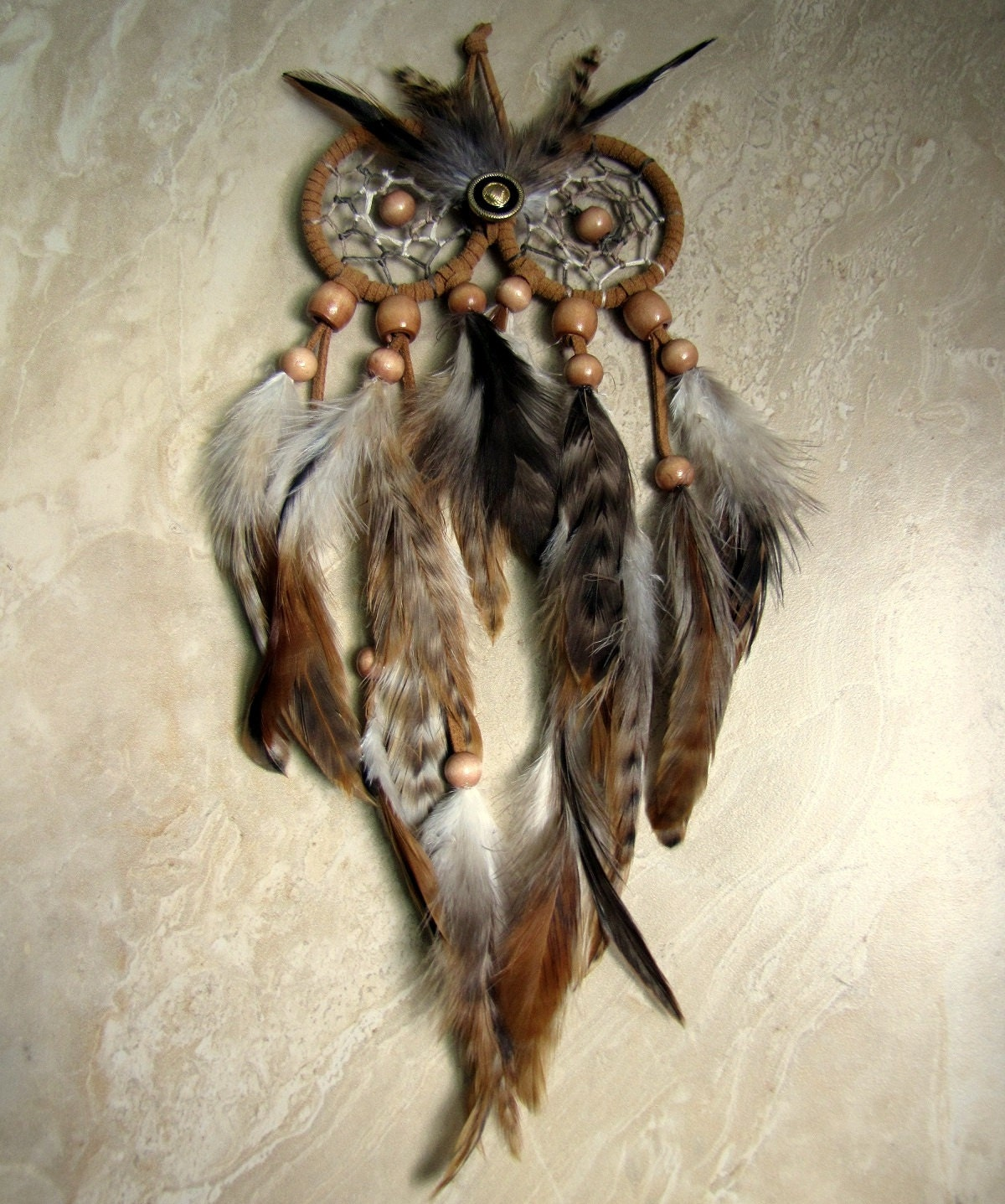 Owl Dream Catcher Natural Brown Feather Dream Catcher